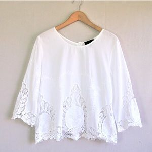 Cynthia Rowley Embroidered Lace Top